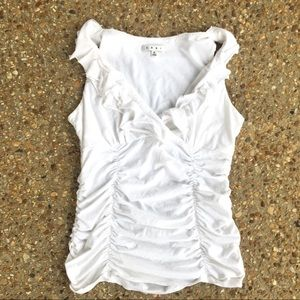 Cabi Ruffled Ruched White Tank V-Neck Size M